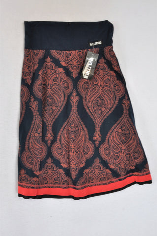 New Welitng Navy & Coral Paisley Skirt Women Size S
