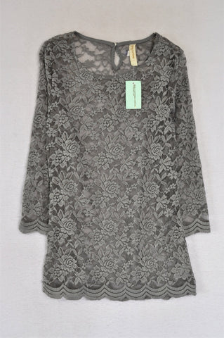 New Pick 'n Pay Dusty Blue Lace Sheer Top Women Size S