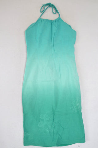 Kelso Blue Ombre Linen Halterneck Dress Women Size 12