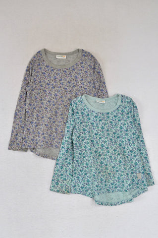 Naartjie 2 Pack Teal & Grey Floral T-Shirts Girls 3-4 years