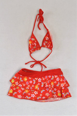 Unbranded 2 Piece Red Floral Diamante Swimming Costume Girls 2-3 years
