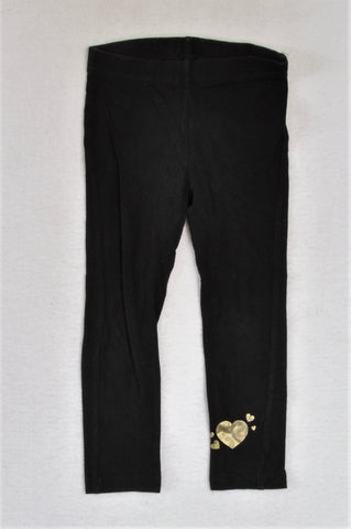 Mr. Price Black Gold Heart Leggings Girls 3-4 years
