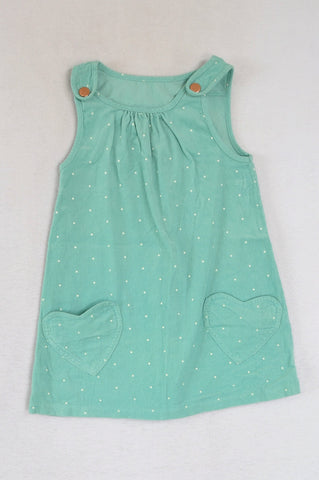 Woolworths Teal Dotty Corduroy Dress Girls 5-6 years
