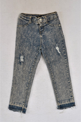 Mr. Price Acid Wash Distressed Jeggings Girls 5-6 years