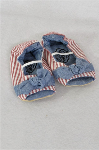 Myang Chambray & Red Striped Peep-Toe Booties Girls Infant Size 3