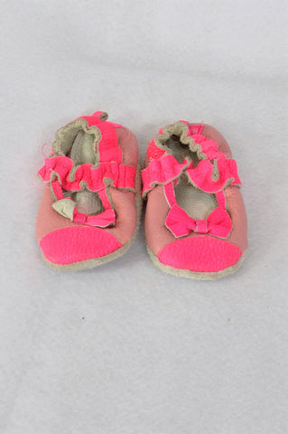 Unbranded Dusty Pink & Lumo Bow Leather Booties Girls Infant Size 0