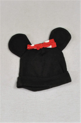 Woolworths Black & Red Minnie Mouse Beanie Girls 3-6 months