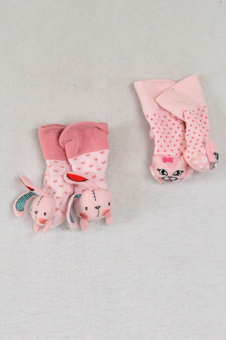 Unbranded 2 Pink Puppy & Kitty Face Socks Girls 0-3 months