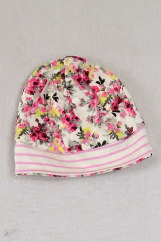 Unbranded Floral & Pink Striped Reversable Beanie Girls 0-3 months