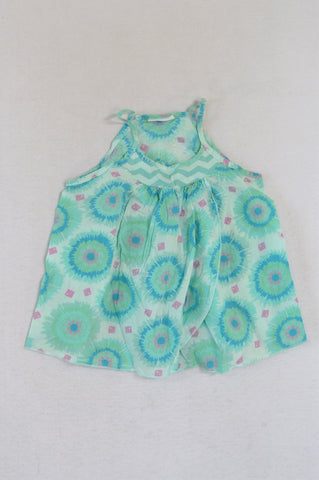 Naartjie Blue & Green Flowy Top Girls 2-3 years