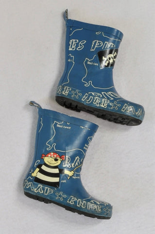 Unbranded Blue Pirate Wellington Boots Boys Toddler Size 6