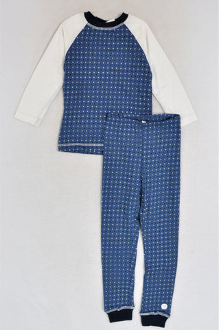 New Kutie Boy Dotty Blue & White Raglan Long Sleeve W/ Blue Ditsy Floral Cloth Bag Pyjamas Boys 1-2 years