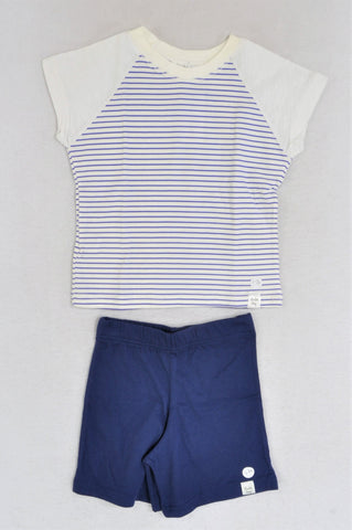 New Kutie Boy Navy & White Raglan Short Sleeve T-Shirt & Navy Shorts W/ Colourful Striped Cloth Bag Pyjamas Boys 1-2 years