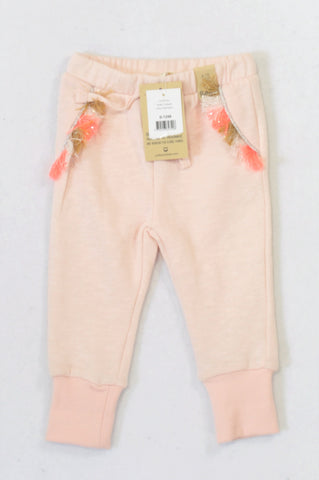 New Cotton On Shell Peach Tassel Track Pants Girls 6-12 months