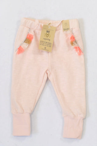 New Cotton On Shell Peach Tassel Track Pants Girls 3-6 months