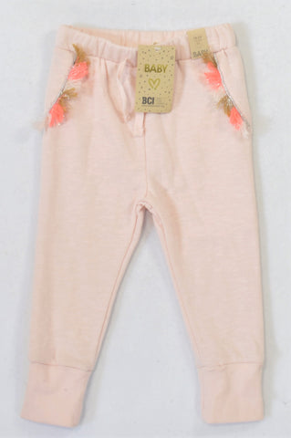 New Cotton On Shell Peach Tassel Track Pants Girls 18-24 months
