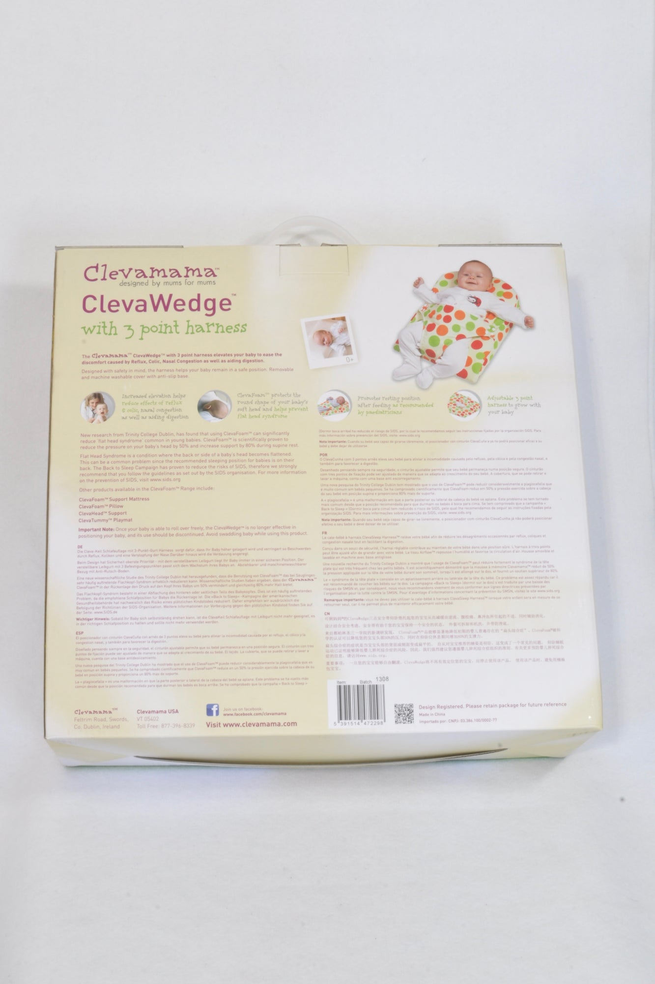 New ClevaMama ClevaWedge 3 Point Harness Sleep Accessory Unisex N-B to 6 months