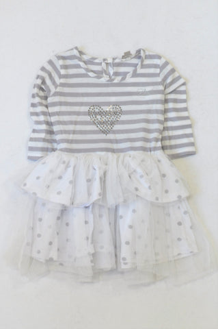Truworths Grey Stripe Rhinestone Heart Tulle Dress Girls 2-3 years