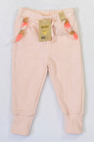 New Cotton On Shell Peach Tassel Track Pants Girls 12-18 months