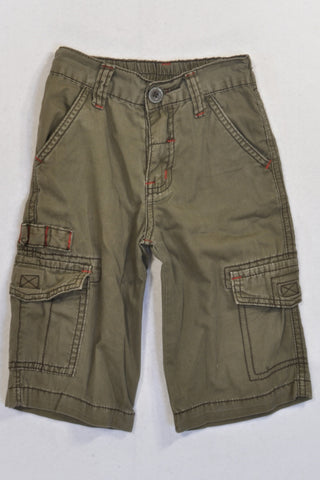 Olive Cargo And Red Stitch Detail 3/4 Pants Boys 2-3 years