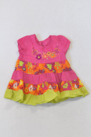 Woolworths Cerise & Green Floral Embroidered Dress Girls 0-3 months