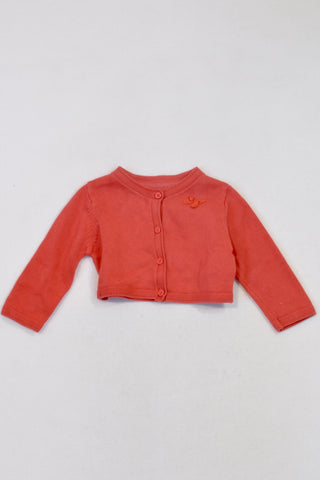 Marks & Spencer Coral Butterfly Detail Knit Cardigan Girls 3-6 months