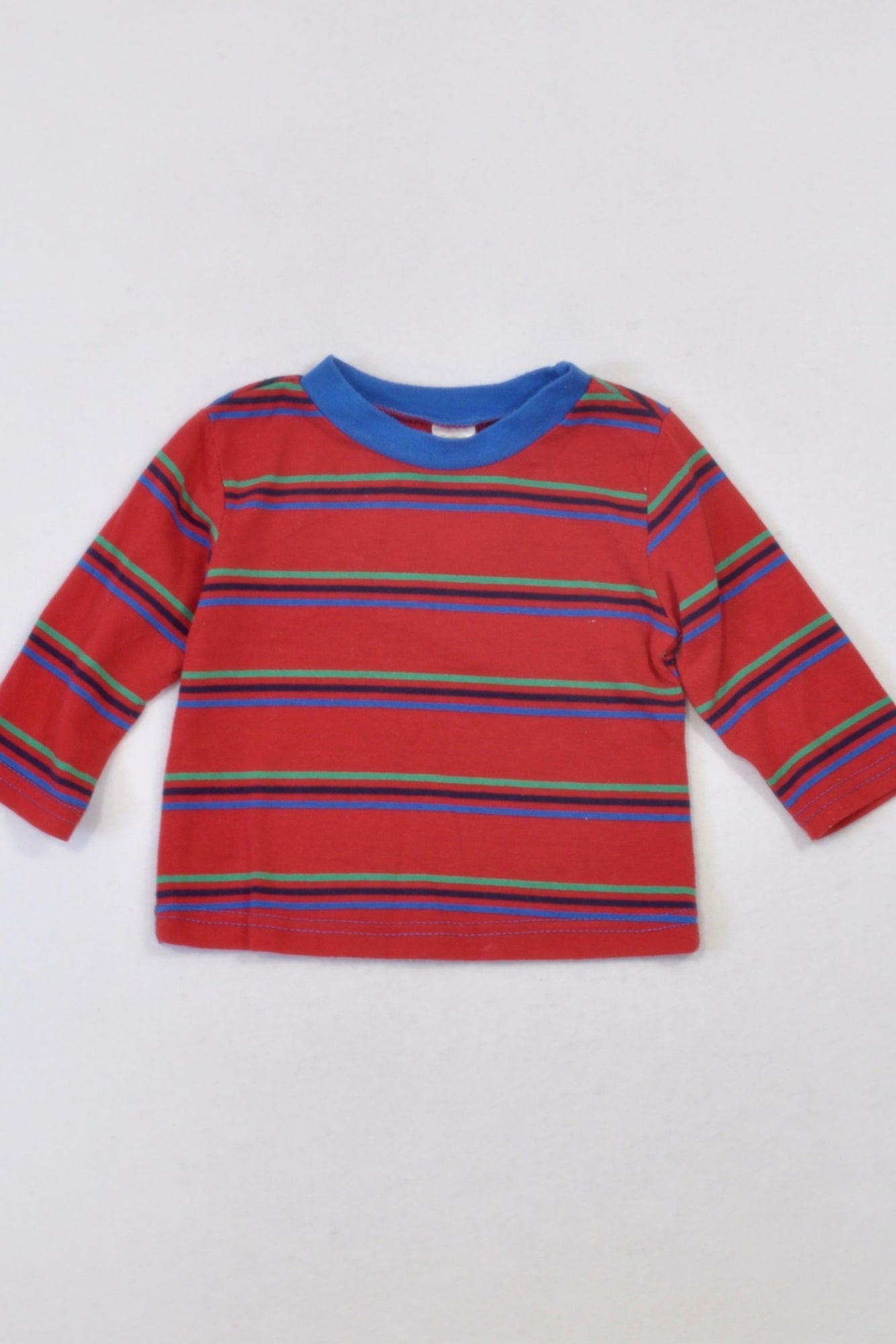 Ackermans Red & Navy Striped T-shirt Boys 6-12 months