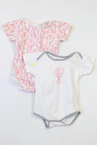 2 Pack White & Pink Air Balloons Baby Grows Girls 18-24 months
