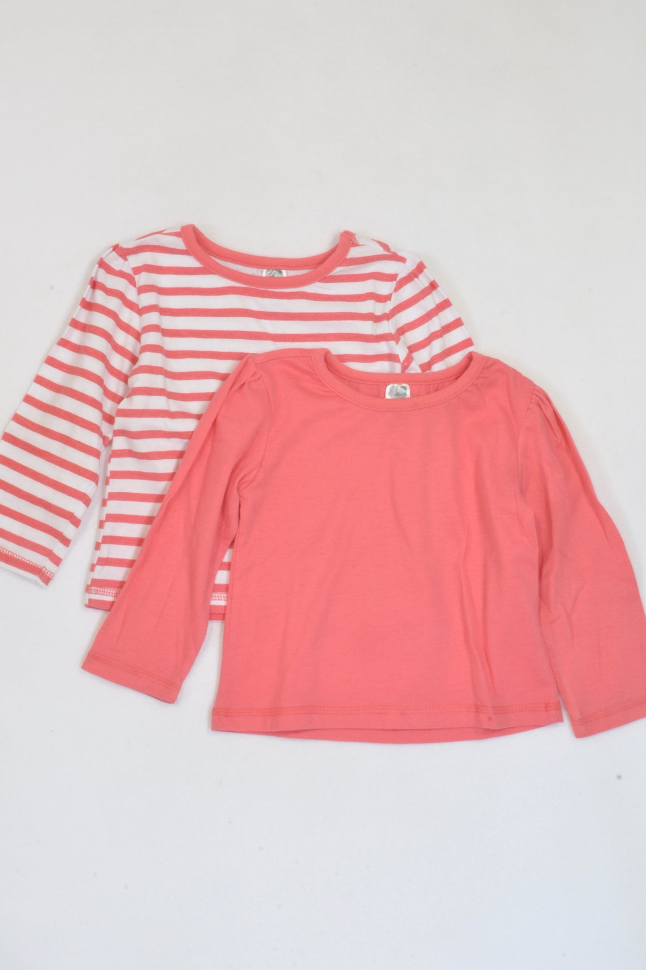 Ackermans 2 Pack Coral Striped T-Shirts Girls 12-18 months