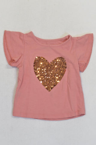 Coral And Gold Heart Sequin T-shirt Girls 12-18 months
