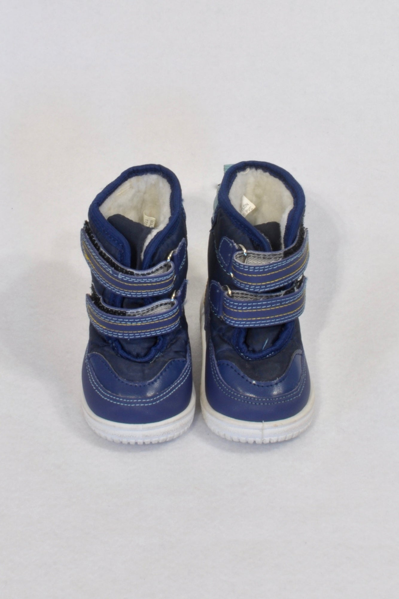 Size 1 Blue Fleece Lined Velcro Boots Boys 3-6 months