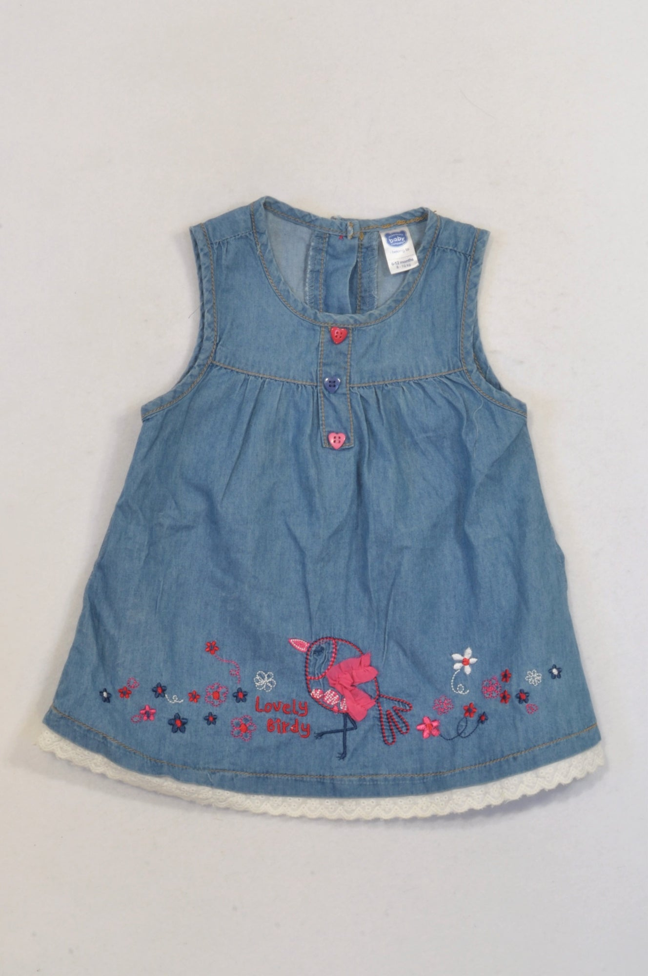 Ackermans Chambray Embroidered Lovely Bird Dress Girls 6-12 months