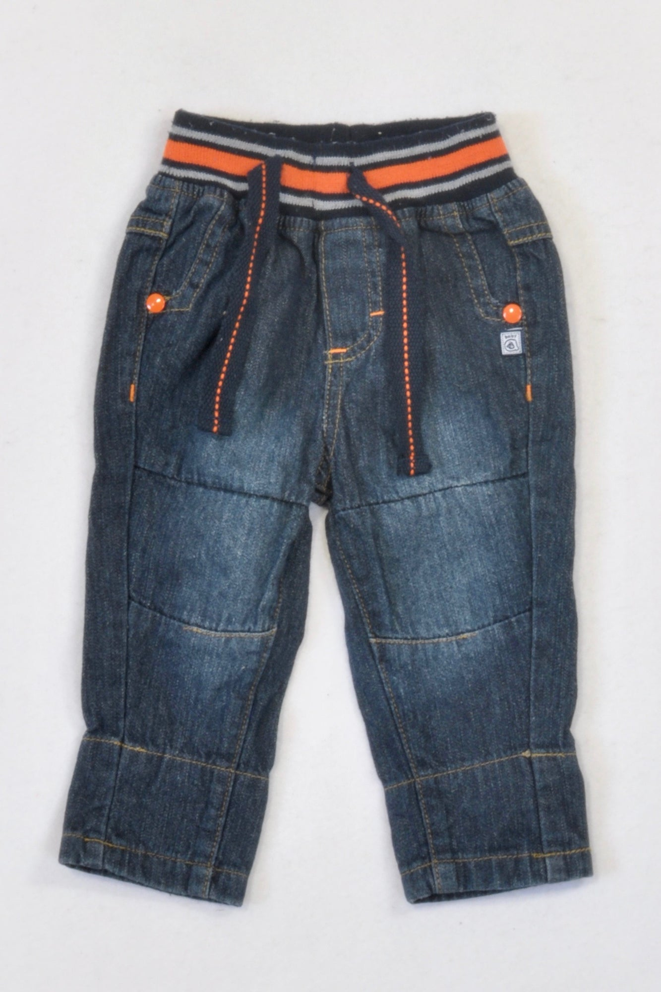 Ackermans Dark Denim Banded Orange Detail Jeans Boys 0-3 months