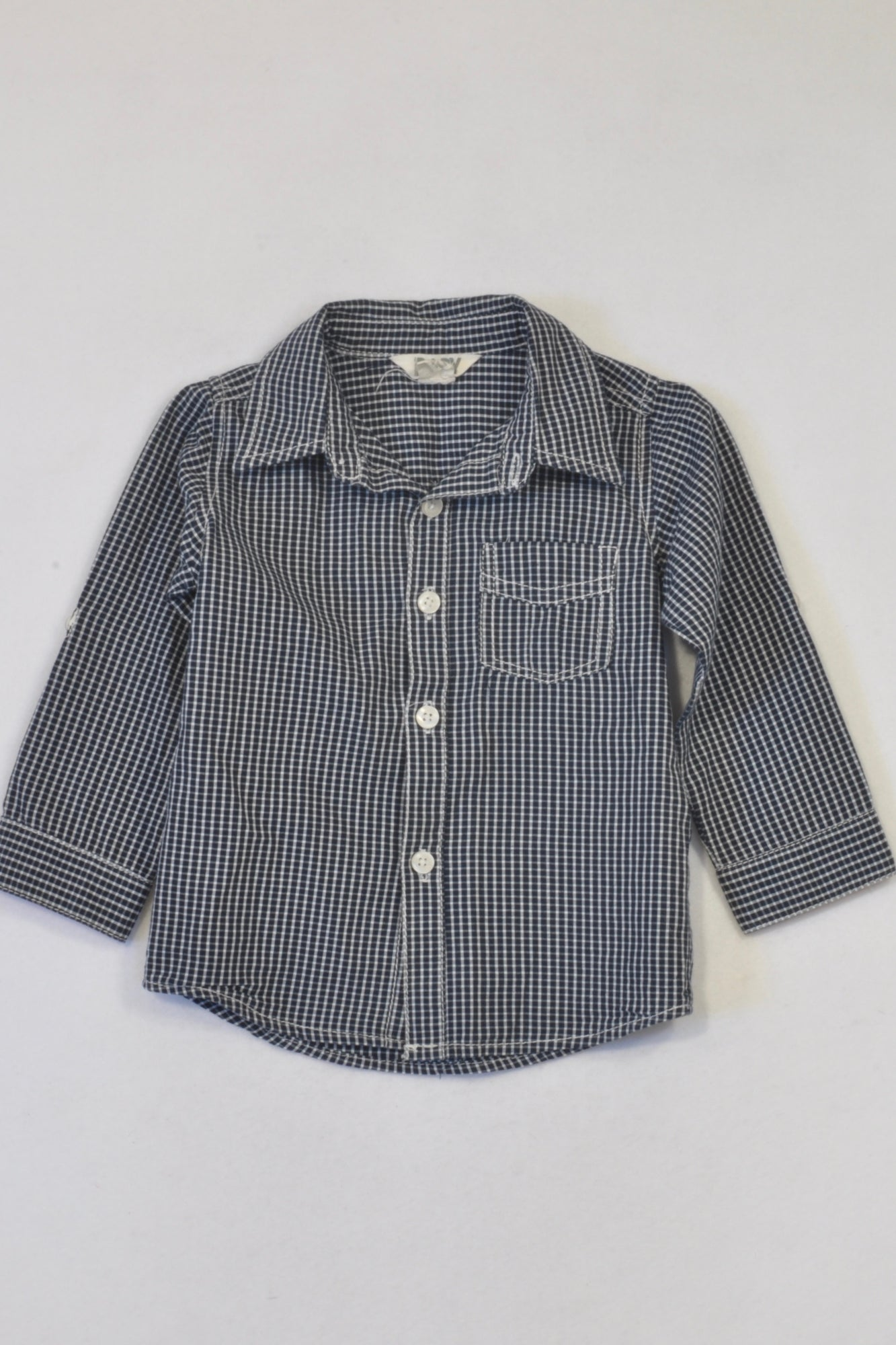 Cotton On Navy & White Plaid Collared T-shirt Girls 12-18 months