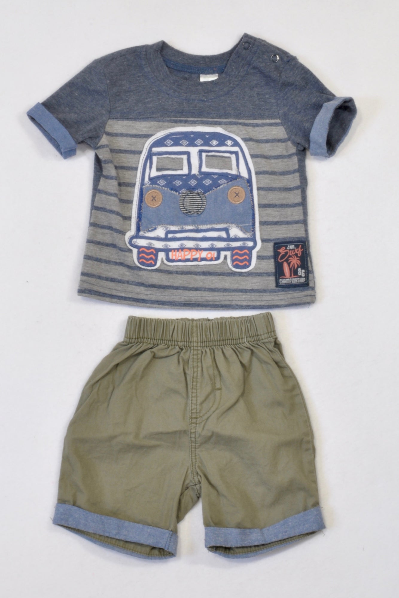 Ackermans Olive & Blue Heathered Car Outfit Boys 3-6 months