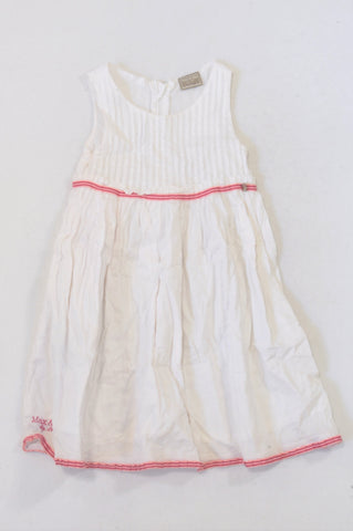 Max & Mia White Pink Trim Detail Dress Girls 2-3 years