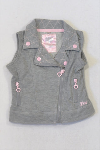Truworths Grey & Pink Detail Zipper Cardigan Girls 2-3 years