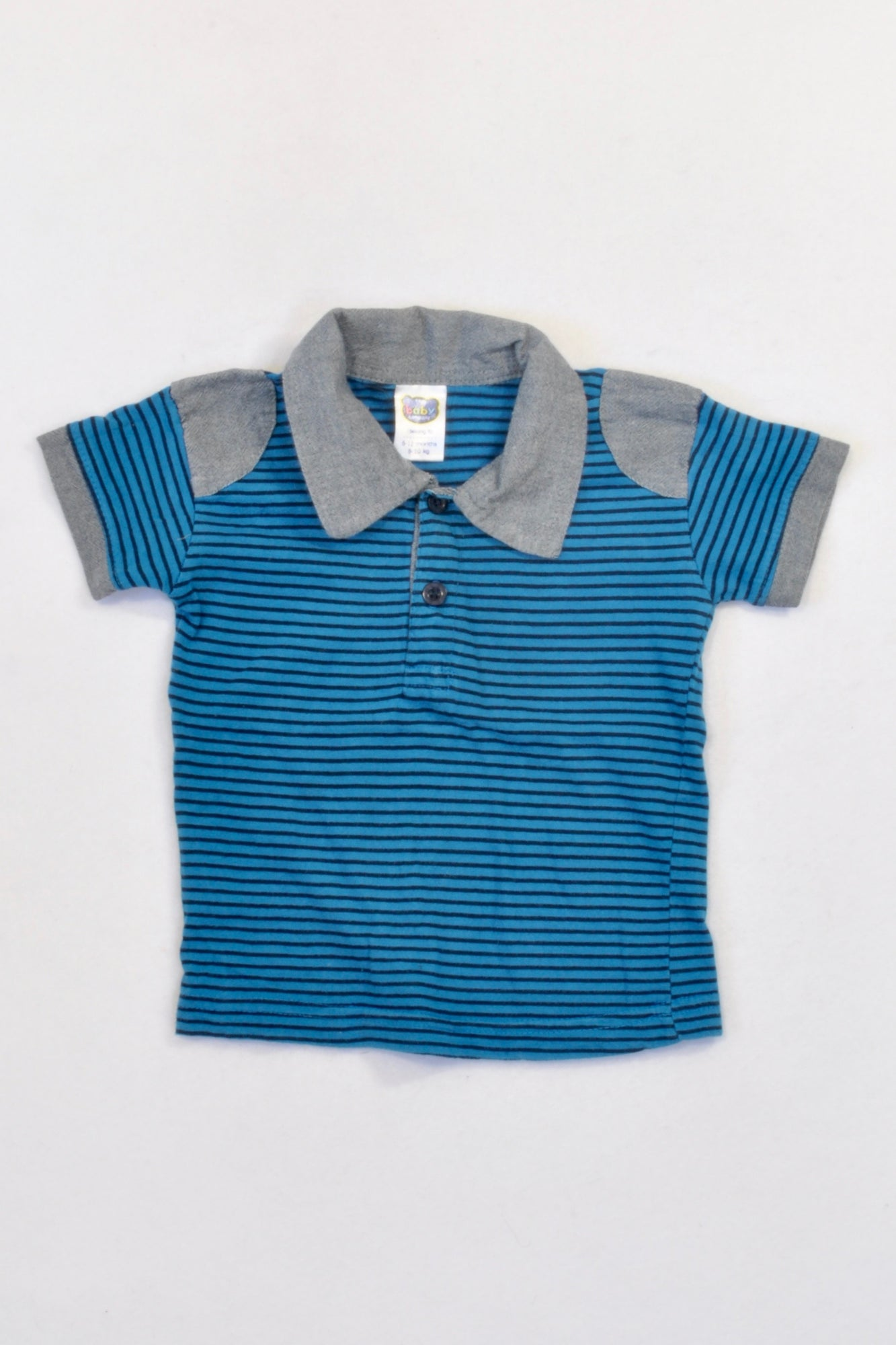 Ackermans Blue Stripe Grey Trim Golf T-shirt Boys 6-12 months
