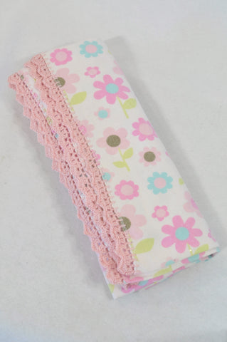 Ackermans Pink Daisy Knit Trim Blanket Girls N-B to 2 years