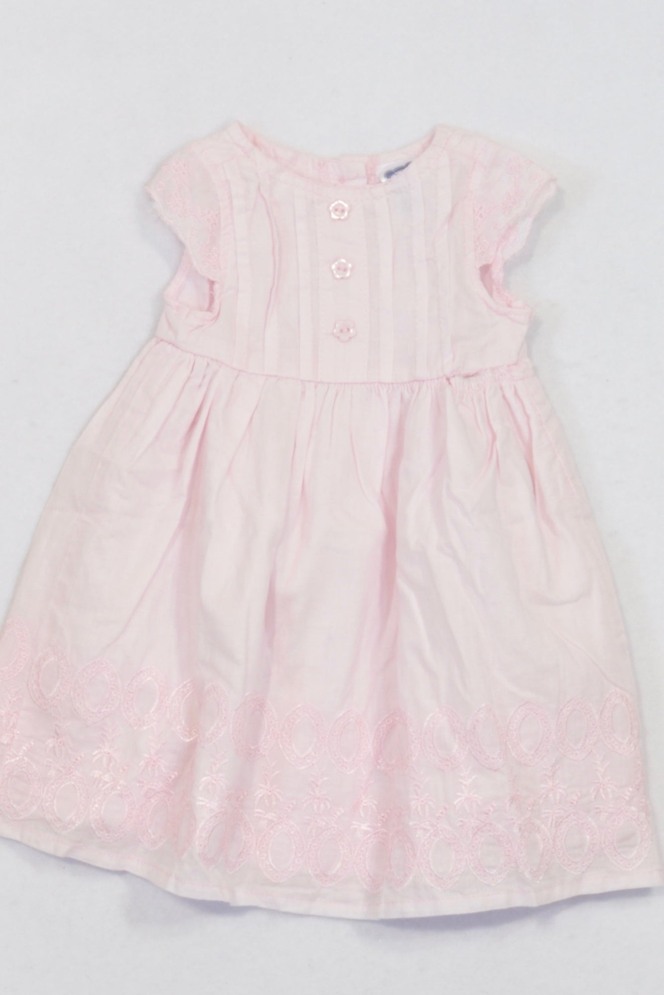 Ackermans Pink Embroidered Flower Button Lined Dress Girls 0-3 months