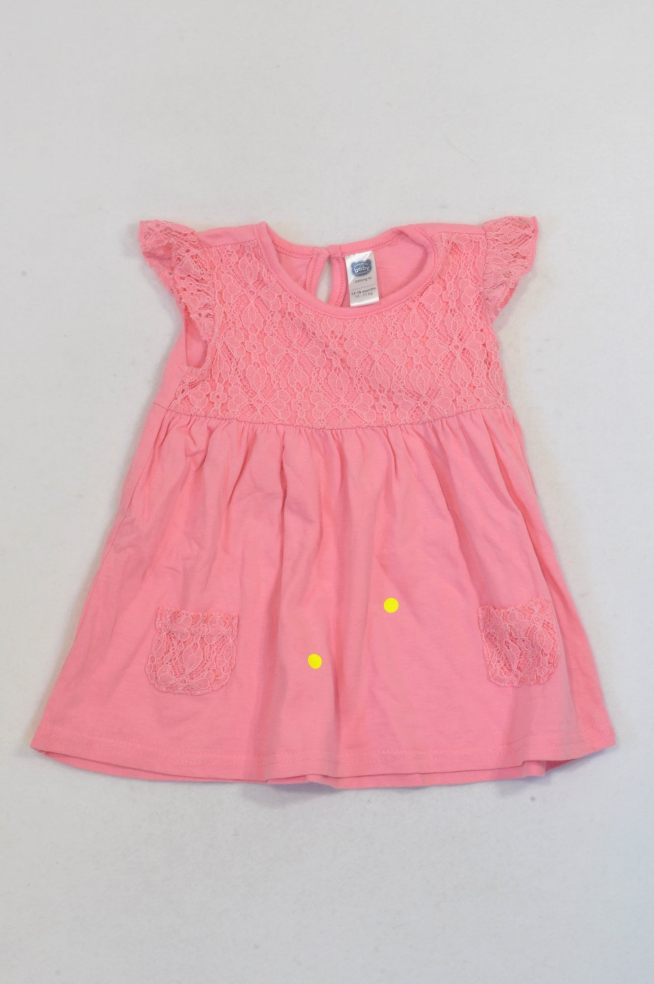 Ackermans Pink Lace Overlay Babydoll Dress Girls 12-18 months