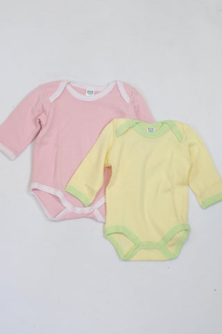2f4e3ba2c Ackermans 2 Pack Pink   Yellow Baby Grows Girls 3-6 months