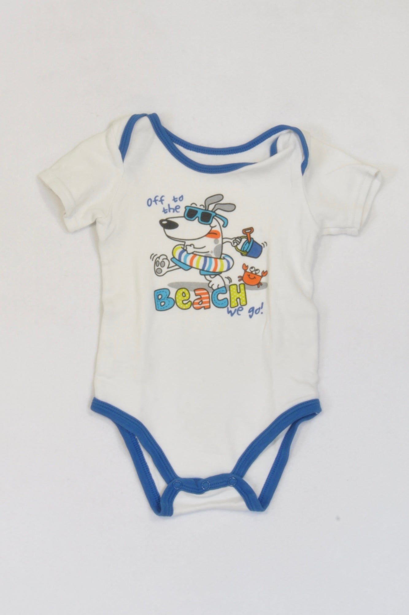 Woolworths White Beach Dog Baby Grow Boys 3-6 months