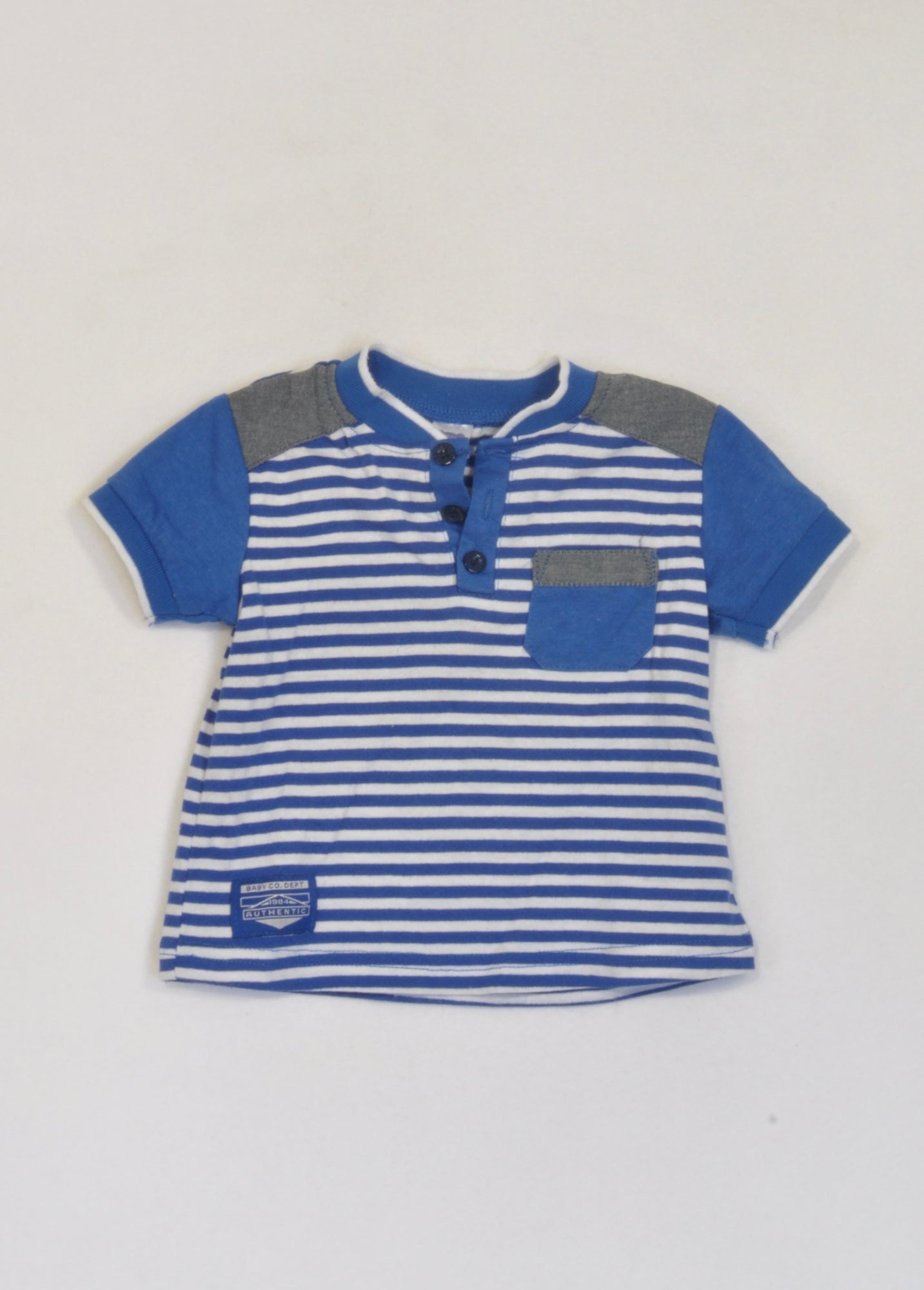 Ackermans Blue Striped Golf Shirt Boys 6-12 months