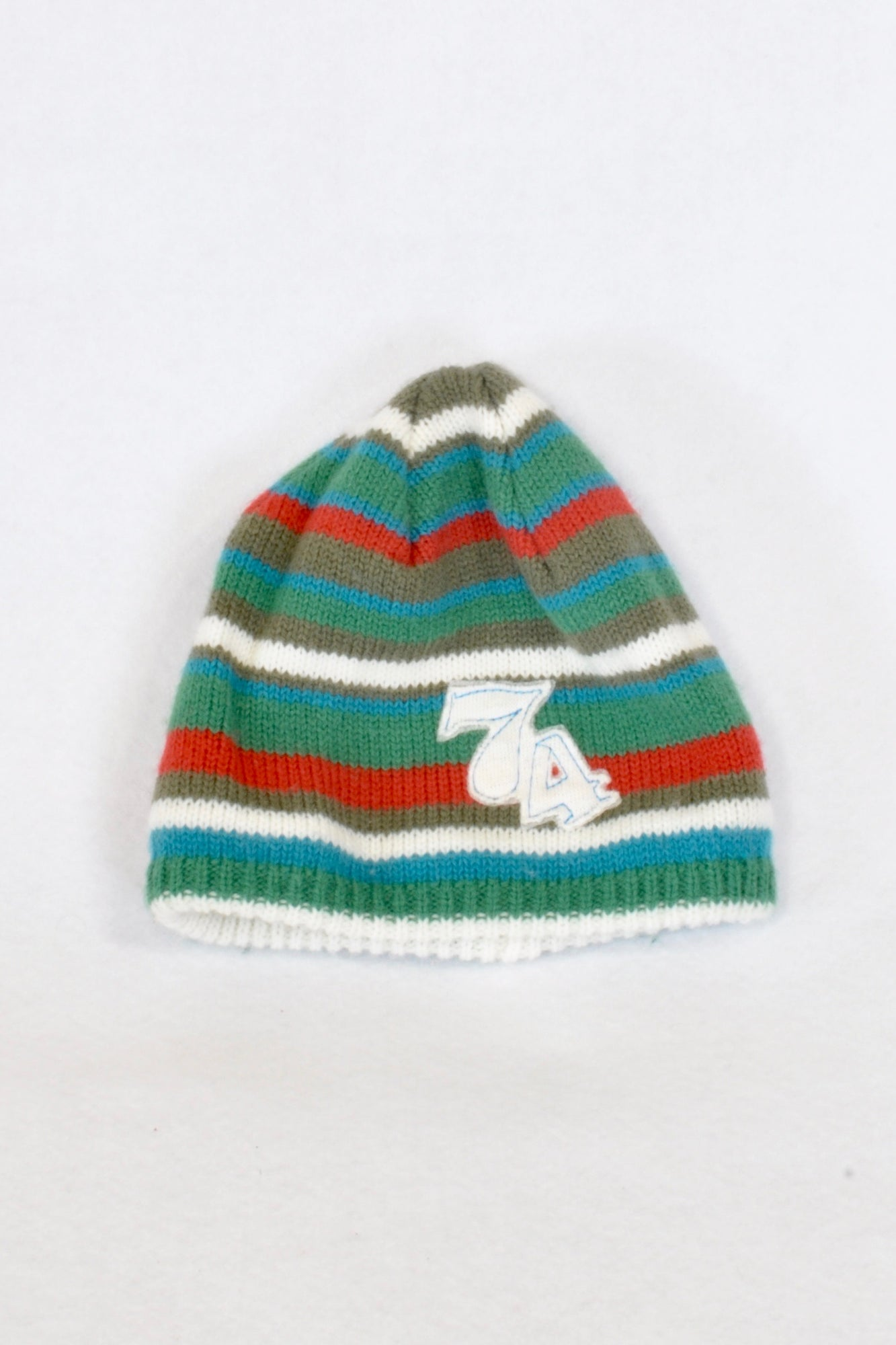 Green Striped 74 Knit Beanie Boys 3-6 months