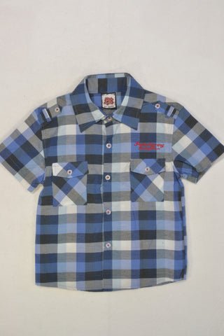 New Blue Check Short Sleeve Shirt Boys 6-7 years