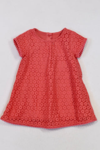 New Marks & Spencer Coral Crochet Overlay Bauble Trim Dress Girls 0-3 months