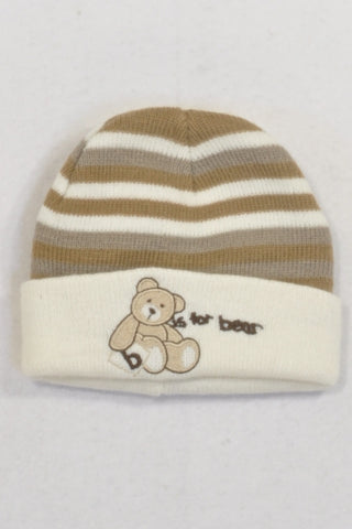 B is for Bear Cream And Brown Knit Beanie Boys 0-3 months