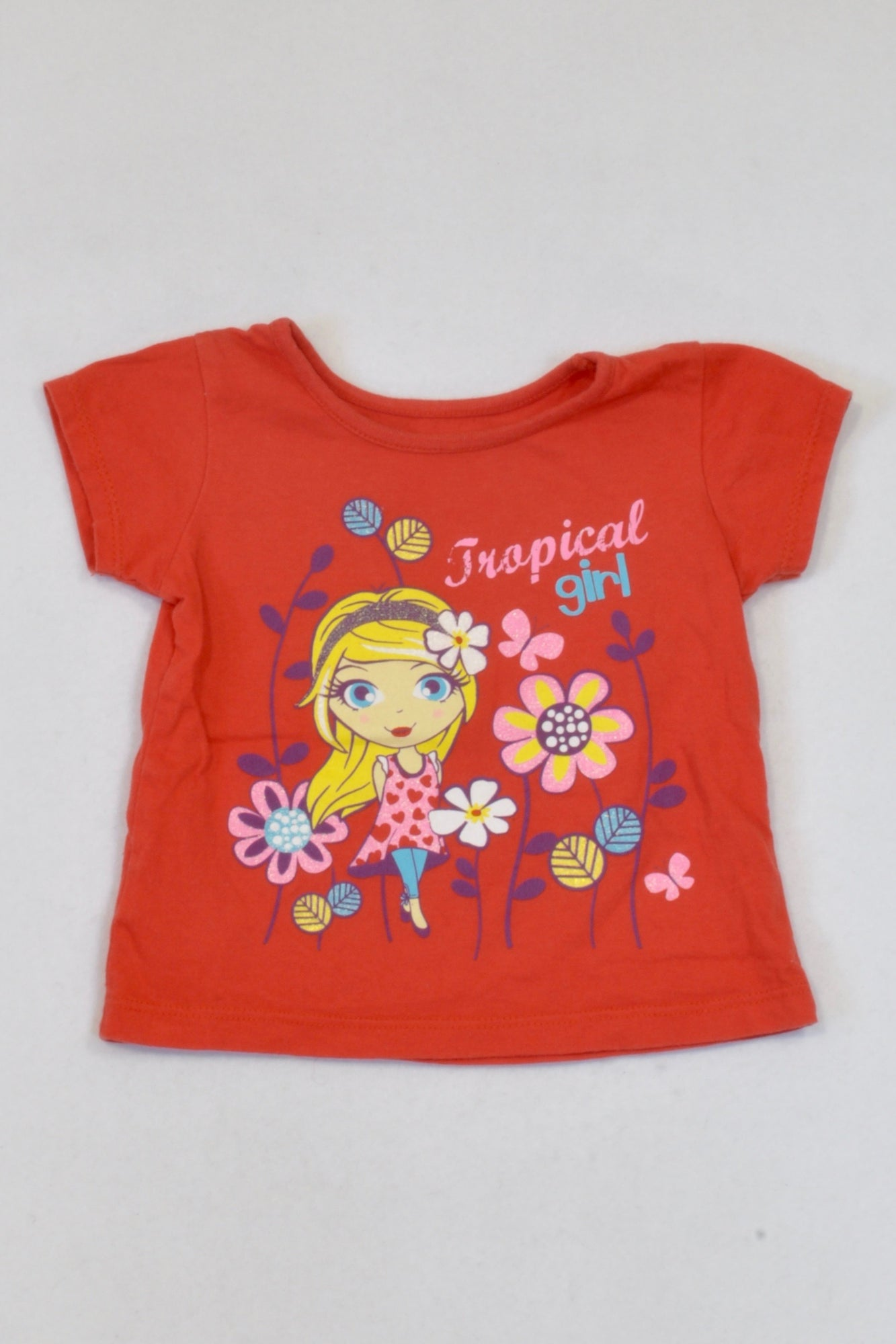 Woolworths Red Tropical Girl T-shirt Girls 3-6 months