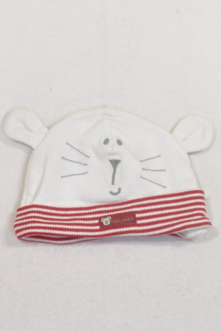 M&S White And Red Stripe Mouse Beanie Unisex 3-6 months
